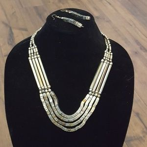 Vintage - Mixed Metal Necklace & Earring Set